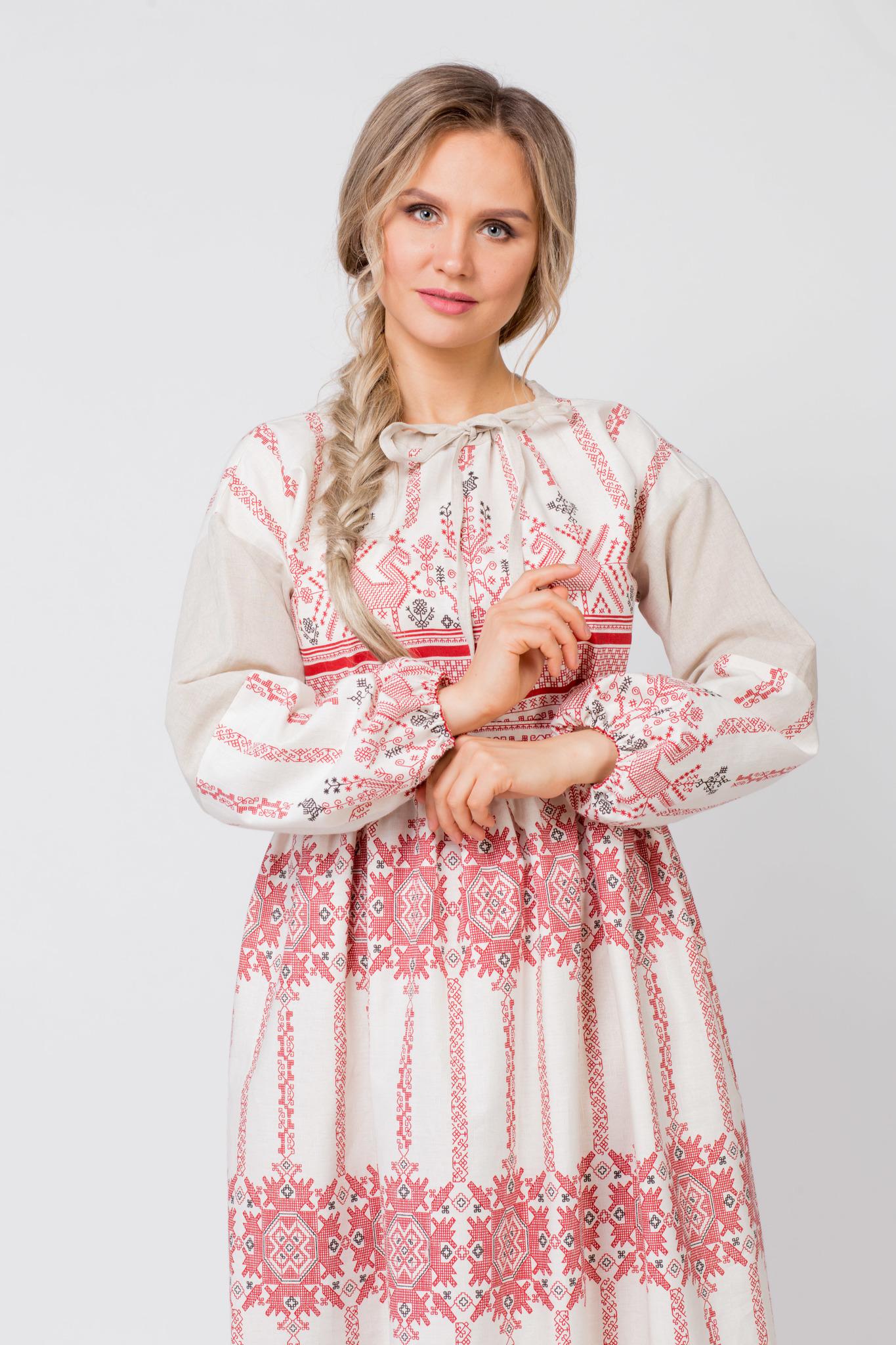 Платье льняное Земледелие приближенный фрагмент