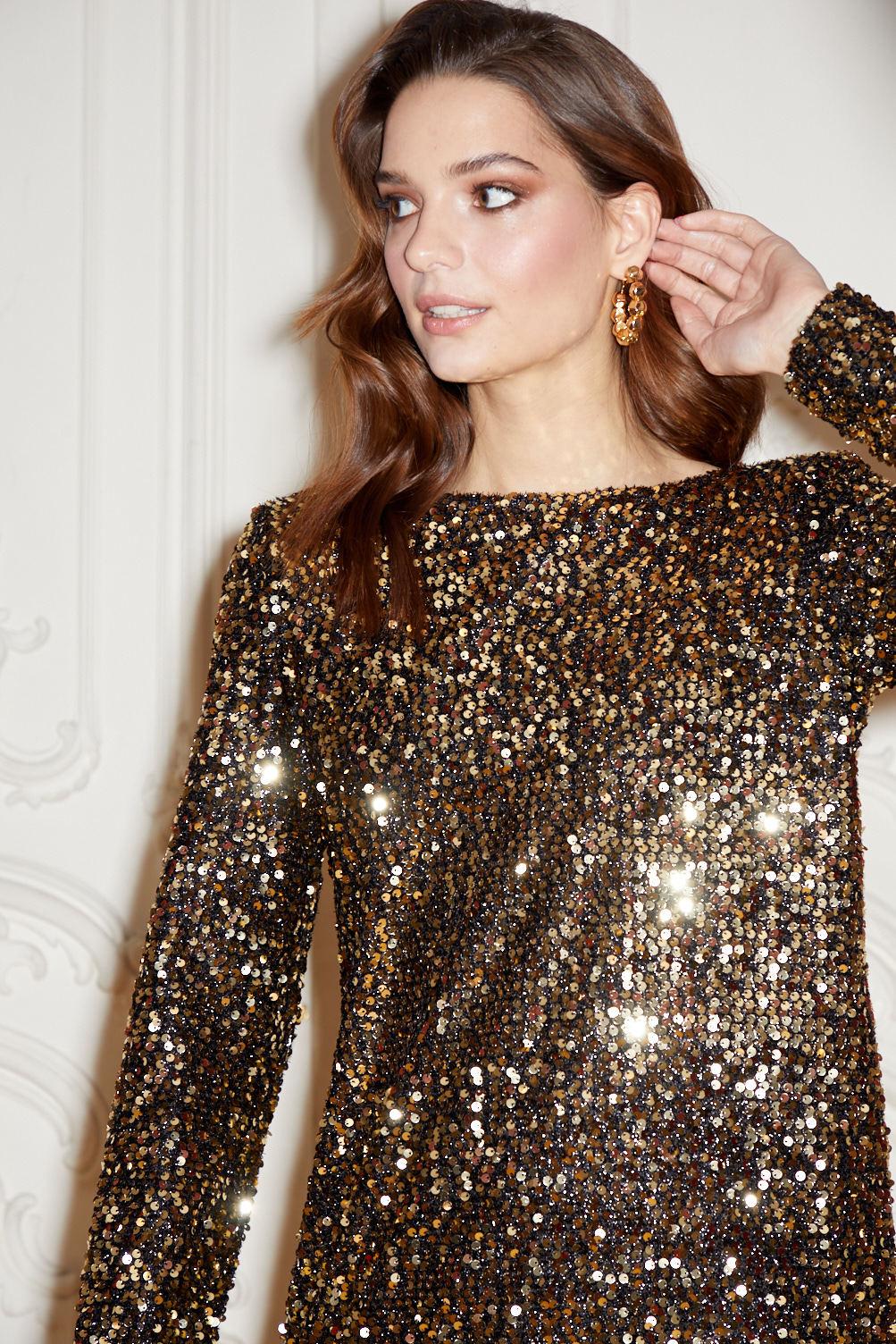 Платье с V-вырезом (пайетки) (золото)