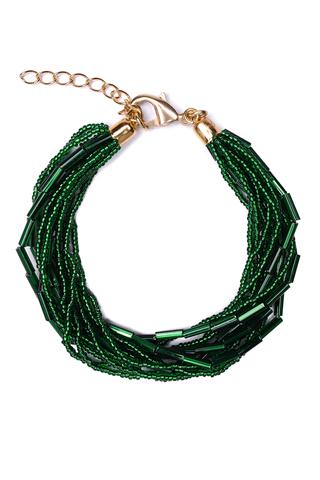 Бисерный браслет 12 нитей зеленый