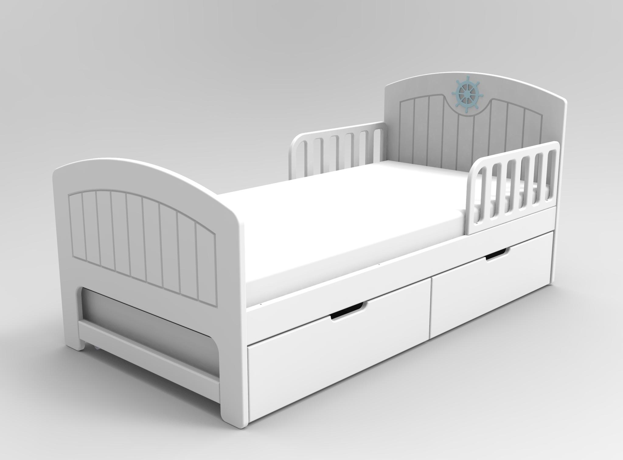 Кровать с ящиками Юнга Белая