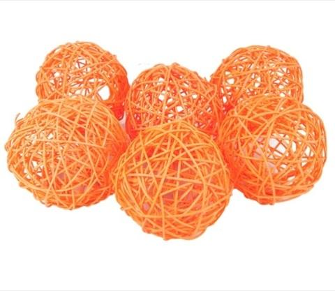 Плетеные шары из ротанга (набор:6 шт., d10см, цвет: оранжевый)