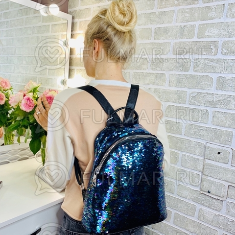 Большой рюкзак в двусторонних пайетках для девочки (цвет: Синяя русалочка)