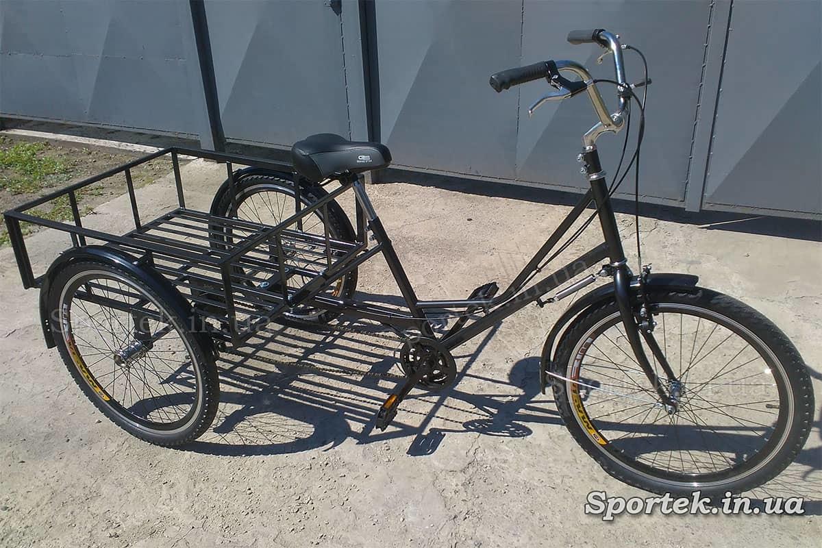 Триколісний вантажний велосипед 'Греція' з вантажною платформою і колесами 24