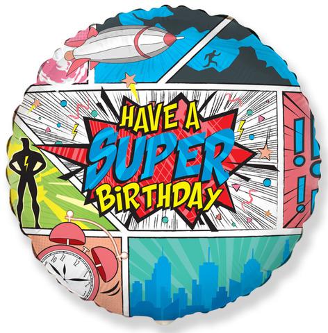 Фольгированный шар круг , Happy Birthday, комиксы 46 см