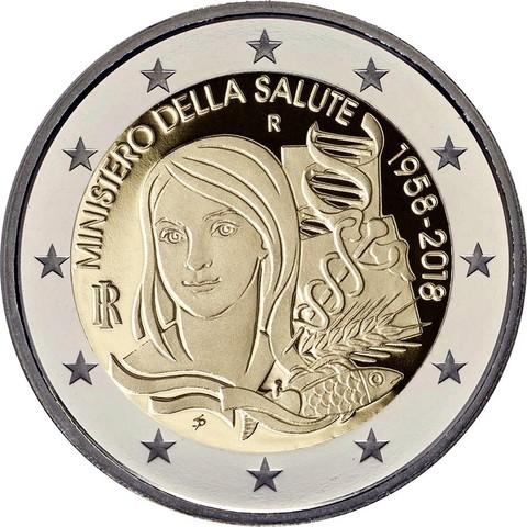 2 евро Италия - Министерство Здравоохранения. 2018 год