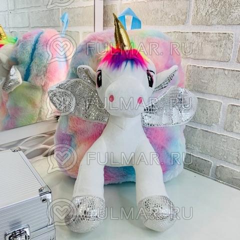 Рюкзак детский для девочки игрушка-Единорог плюшевый (цвет: нежно-радужный)