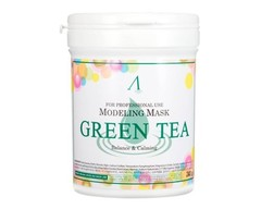 Альгинатная маска, Для тусклой и проблемной кожи, ANSKIN, Green Tea Modeling Mask,  в банке 240г