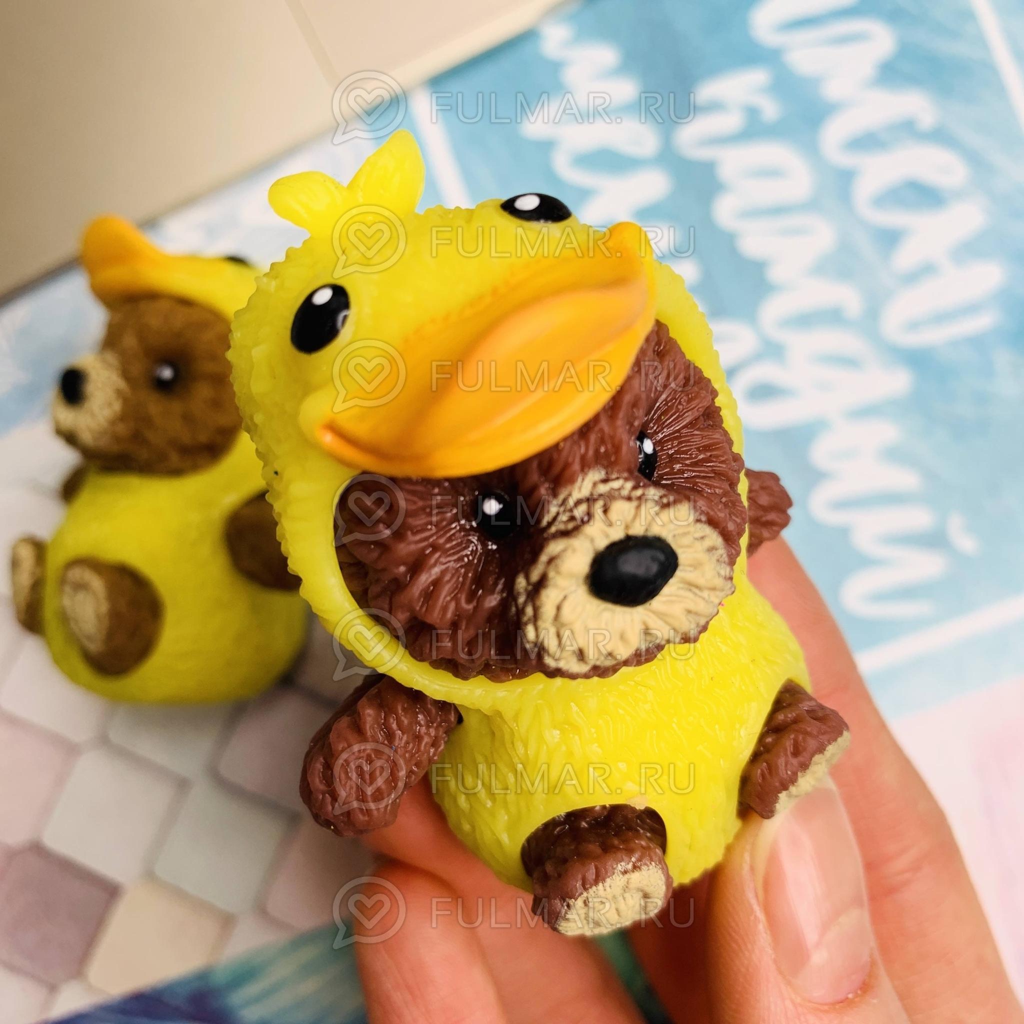 Мишка в костюме Утёнка Игрушка Тянучка антистресс животное babe stretchable alive цвет: коричневый фото