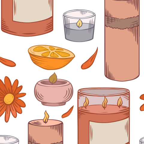 Свечи с апельсином и календулой