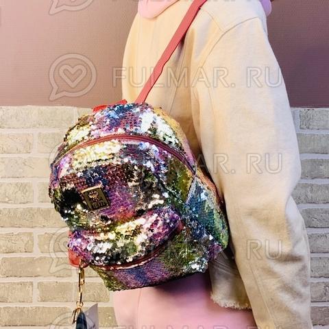 Рюкзак детский с двусторонними пайетками меняет цвет Нежно Радужный-Серебристый и брелок Сердце (24х20х10 см) Классика