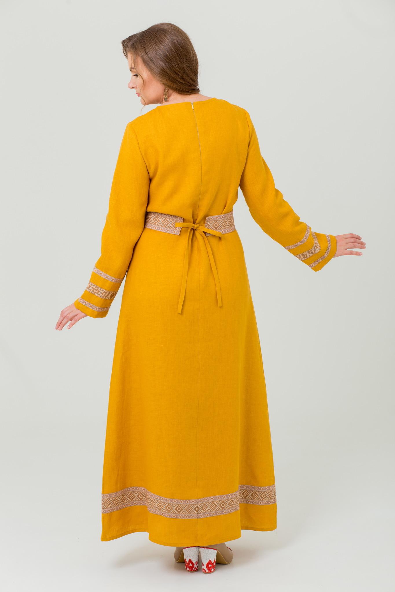 Льняное платье с поясом в русском стиле Горицвет