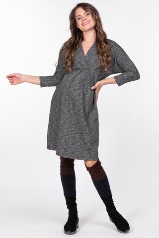 Платье для беременных 11157 черно-серый