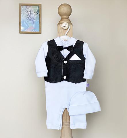 Нарядный набор на выписку и крестины новорожденных Джентльмен (черный)