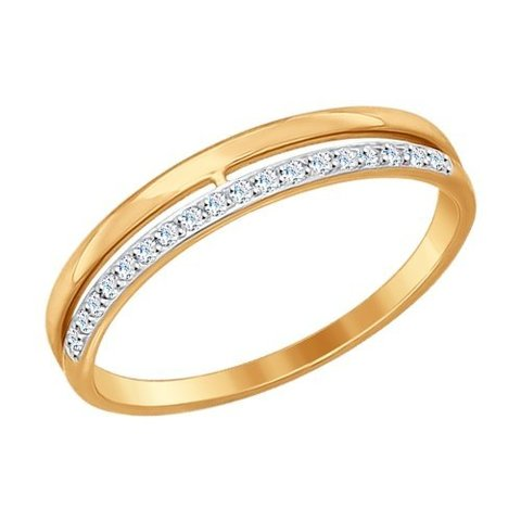 017151- Обручальное кольцо из золота с фианитами