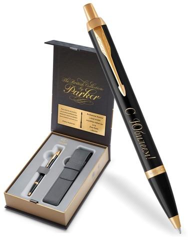 Набор с гравировкой: Чехол и Шариковая ручка Parker IM Core, K321, Black CT