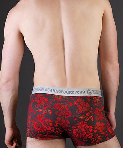 """Men's boxers VELIKOROSS """"Bright red ornament"""""""