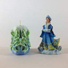 Резная свеча сине-зеленая мини