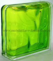 Завершающий стеклоблок тархун волна окрашенный изнутри Vitrablok 19x19x8