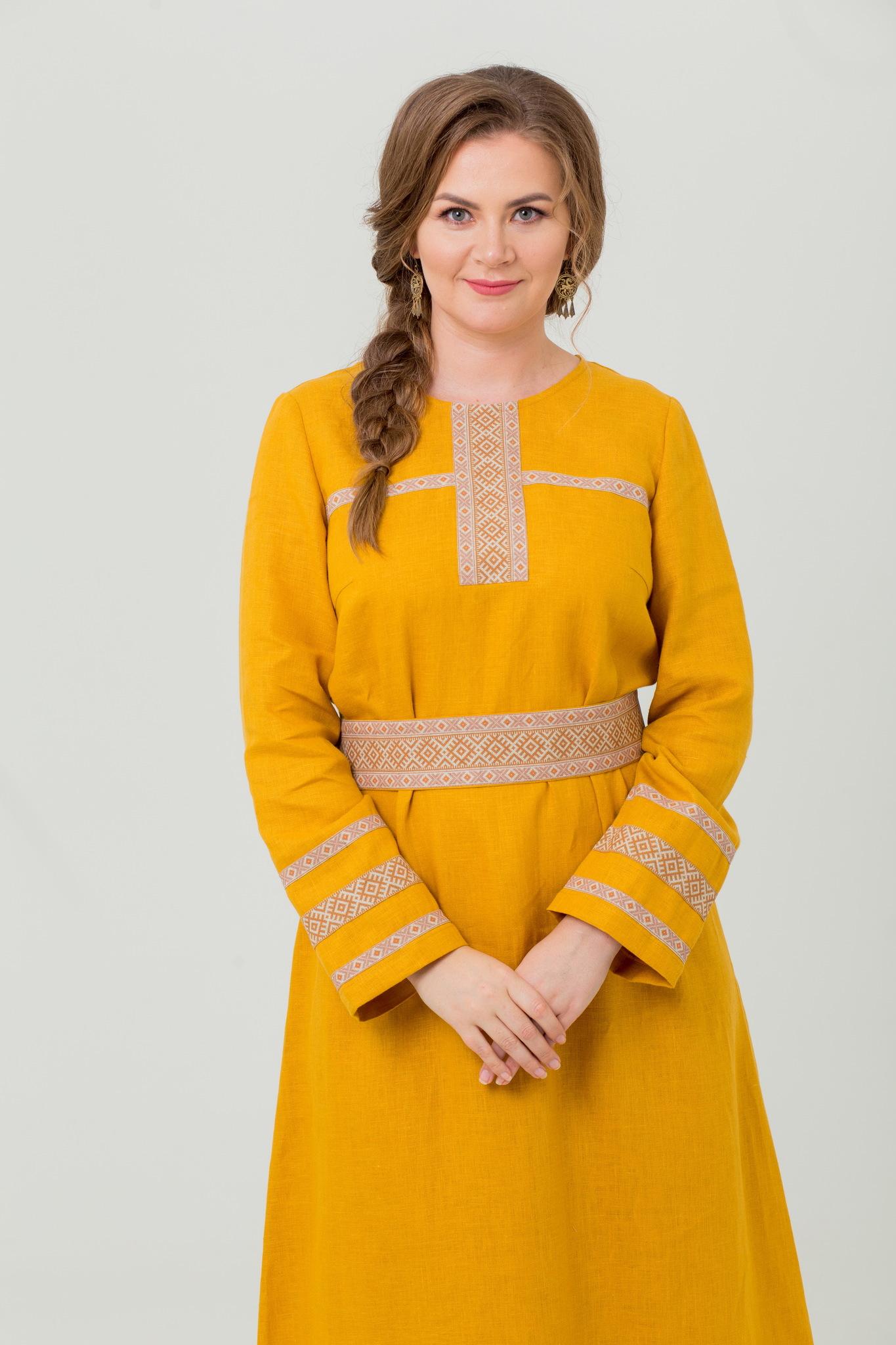 Славянское платье льняное Горицвет