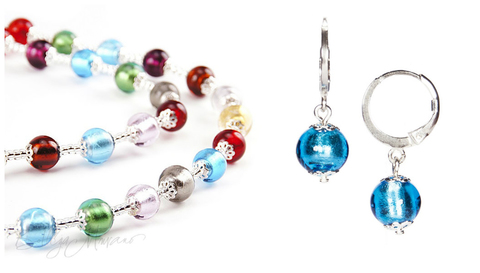 Комплект Carnavale Argento (голубые серьги Piccolo, ожерелье)