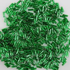 57060 Бисер Preciosa стеклярус #3, витой темно-зеленый с серебряным квадратным центром