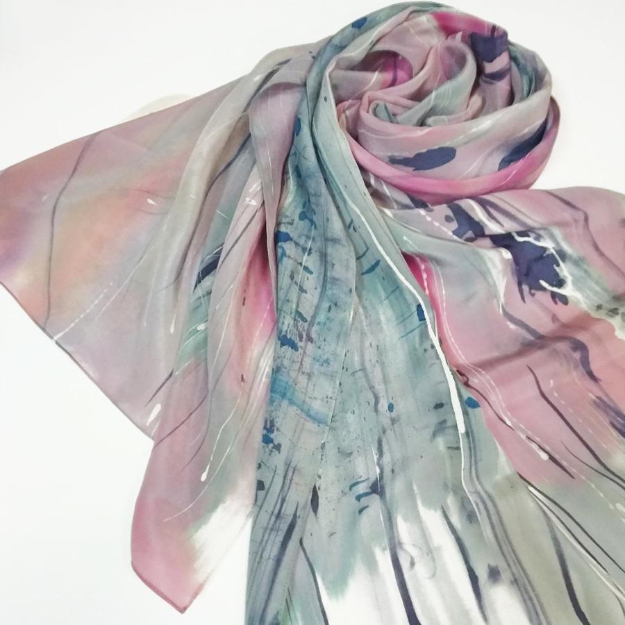 Шелковый шарф батик крепдешин