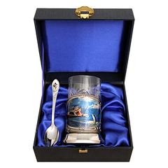 """Набор для чая с подстаканником """"Рыбалка морская"""" (3 пр.), с цветным изображением"""