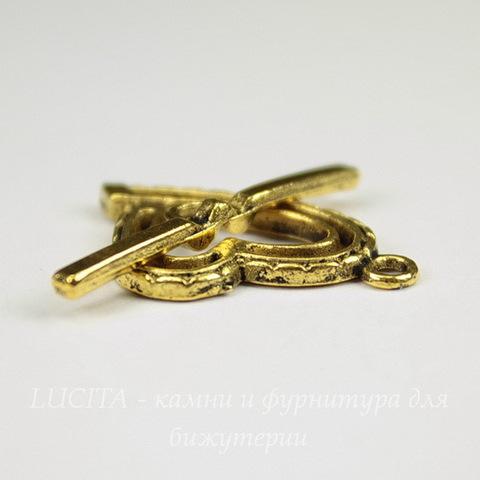 "Замок - тоггл из 2х частей ""Сердце"" 26х15 мм, 27 мм (цвет - античное золото)"