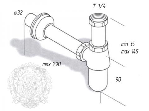Сифон для раковины бутылочный,  Migliore Ricambi  ML.RIC-10.102 схема