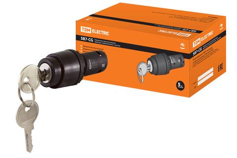 Переключатель с ключом на 2 положения с фиксацией SB7-CG25 d22мм 1з+1р черный TDM