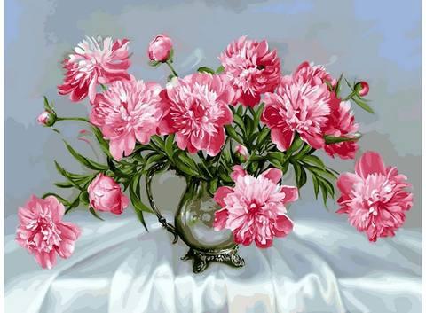 Картина раскраска по номерам 40x50 Букет розовых цветов в вазе