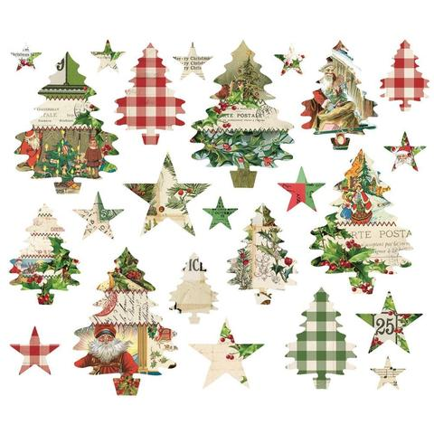Высечки Simple Vintage Christmas Trees And Stars Die-Cuts -  24 шт.