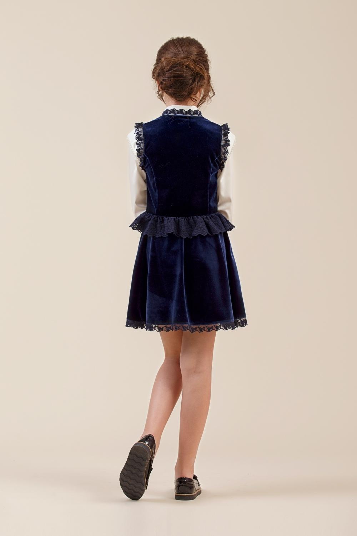 Жилет синий для девочки 34-8005-2