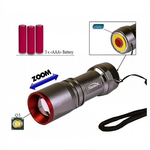 Ф.ручной WD451-XPE, zoom, метал., сигнал. красный/желтый, 3xAAA