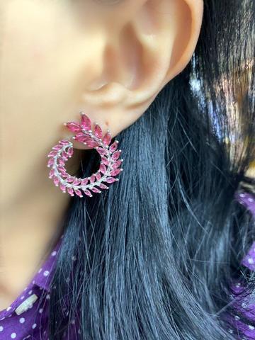 87157 - Серьги из серебра с рубиновыми цирконами маркиз в стиле ШОПАР