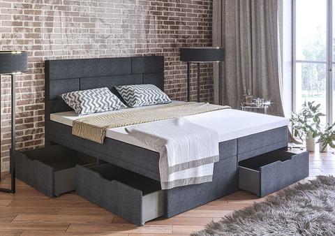 Кровать с выдвижными ящиками 2+1 , - два матраса, обшитые в ткань+общий топпер на размер кровати.