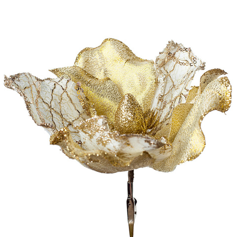 Магнолия с глиттером на прищепке, D20 см, цвет: золотой