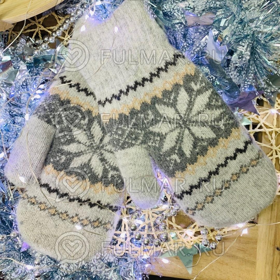 Варежки шерстяные вязаные Большая Снежинка (цвет: Серый) фото