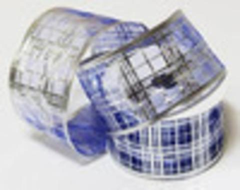 Лента упаковочная органза  Ширина 63 мм. Цвет серебро  (выбрать рисунок)