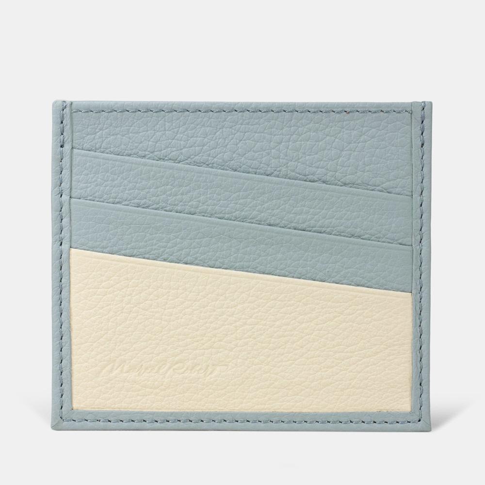 Картхолдер-визитница Carte Bicolor из натуральной кожи теленка, голубого цвета