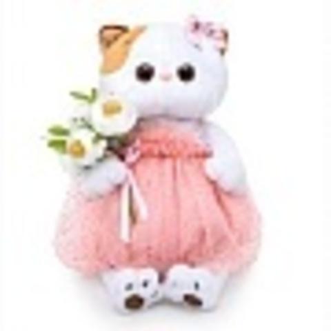 Кошечка Ли-Ли с белым букетом LK24-034