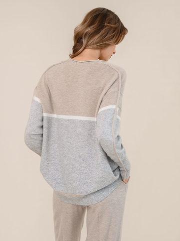 Женский джемпер светло-серого цвета из шерсти и кашемира с полосами - фото 4