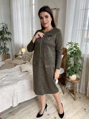 Даяна. Практичное повседневное платье больших размеров. Хакки