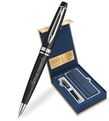 Набор с гравировкой: Чехол и Шариковая ручка Waterman Expert Essential, Black CT123