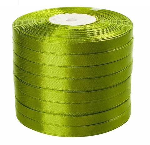 Лента атласная (размер: 10 мм х 50 ярд) Цвет: светло-зеленая