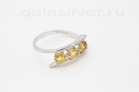Кольцо с цитрином и цирконом из серебра 925