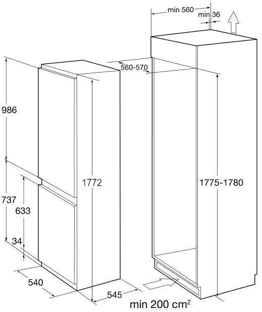 Встраиваемый двухкамерный холодильник Korting KSI 17887 CNFZ