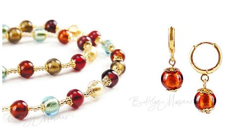 Комплект Carnevale Oro (янтарные серьги Piccolo, ожерелье)