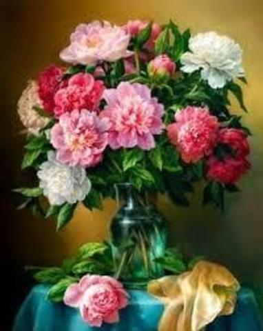 Картина раскраска по номерам 40x50 Пионы в вазе на голубой скатерти