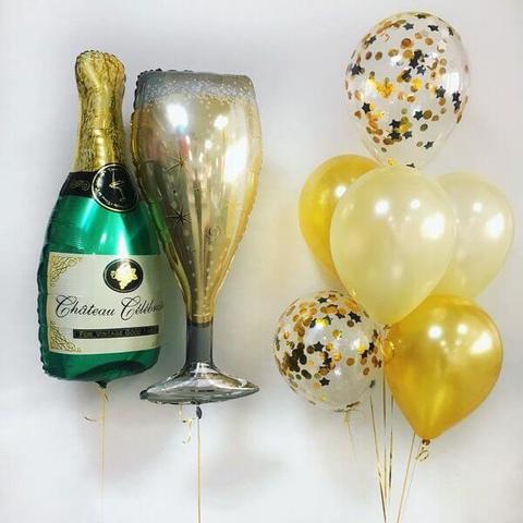 Шар бокал, шар бутылка, шары с конфетти, воздушные шары, шары с гелием, фонтан из шаров, доставка шаров.